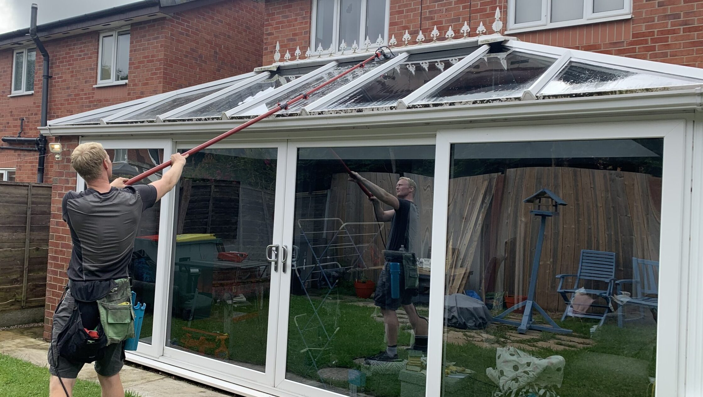 UPVC conservatory clean in progress